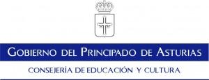 Logotipo Consejería de Educación y Cultura del Principado de Asturias. Alargado, escudo arriba